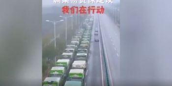 camiones, fila, construcción, hospital, China,
