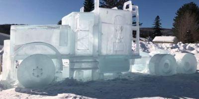 cuando, arte, convierte, bloque, hielo, camión, vídeo,