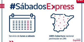 Correos Express amplía a los sábados la entrega 24 horas en la península