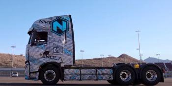 Prueba del Nikola Tre en una pista de Arizona