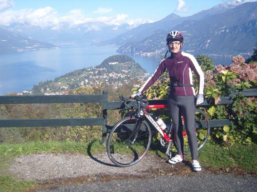pausa panoramica durante la salita del Ghisallo sul lago di Como