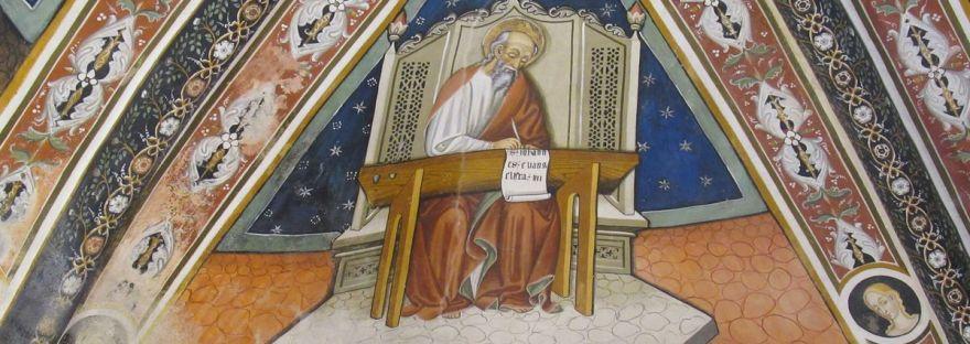 l'evangelista Giovanni affrescato nel presbiterio