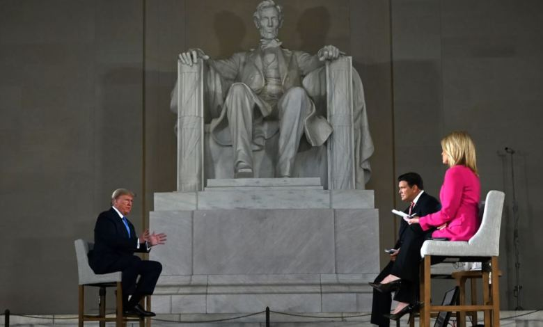 El encuentro comunitario del presidente Donald Trump fue de manera virtual en el monumento a Abraham Lincoln, en Washington D.C., el domingo 3 de mayo de 2020.