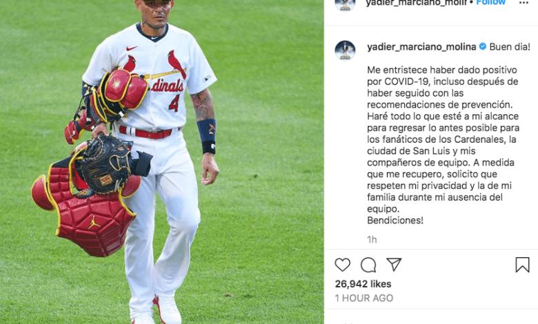 Yadier Molina entre los 7 contagiados de COVID en la plantilla de los St.Louis Cardinals
