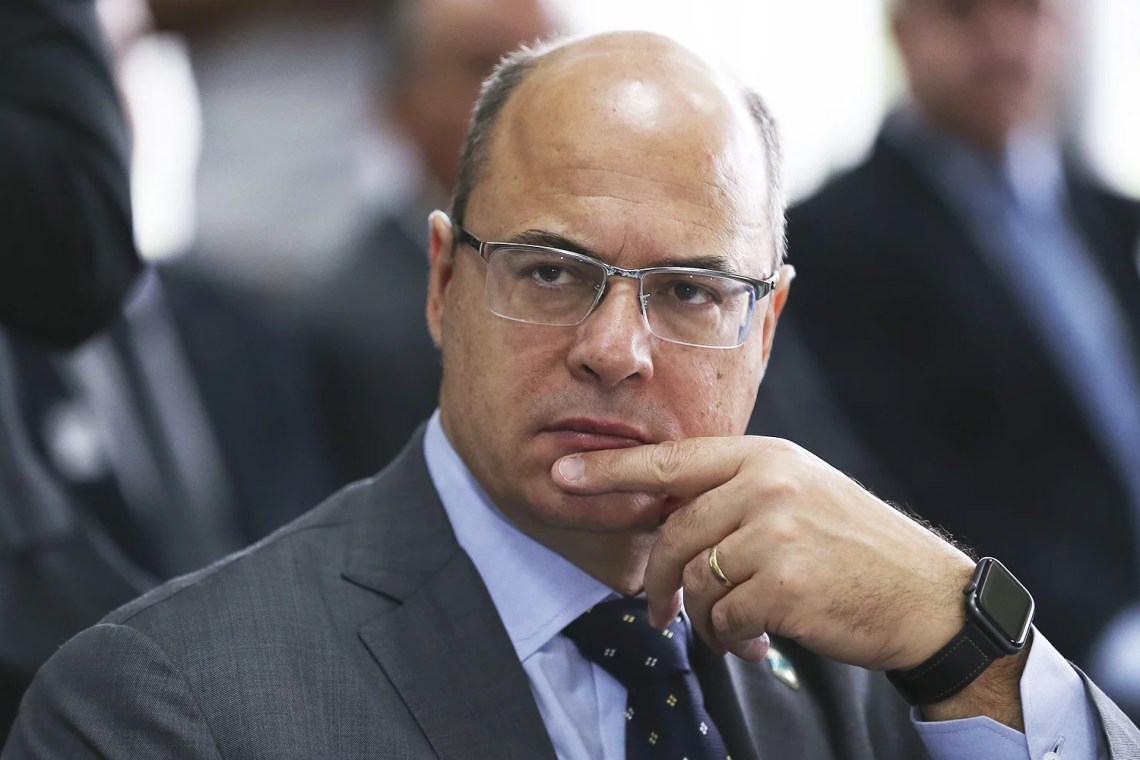 O governador do Rio de Janeiro, Wilson Witzel, participa da reunião extraordinária no Fórum de Governadores.