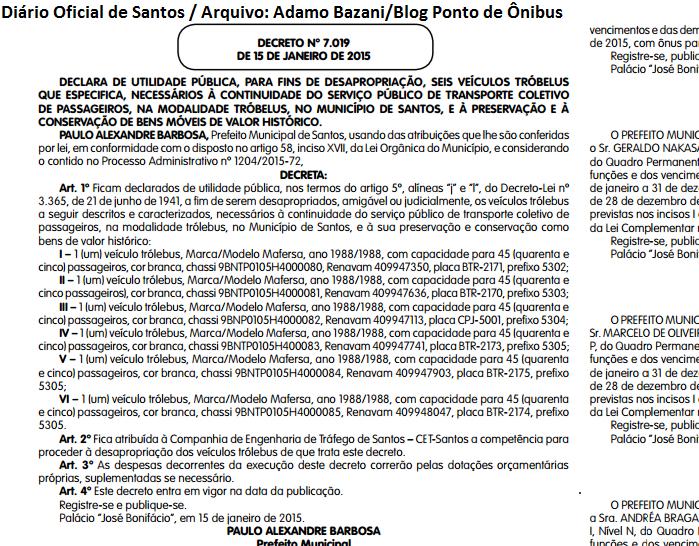 Prefeitura de Santos vai tornar pública a frota dos trólebus da ... 8300f20fbded3