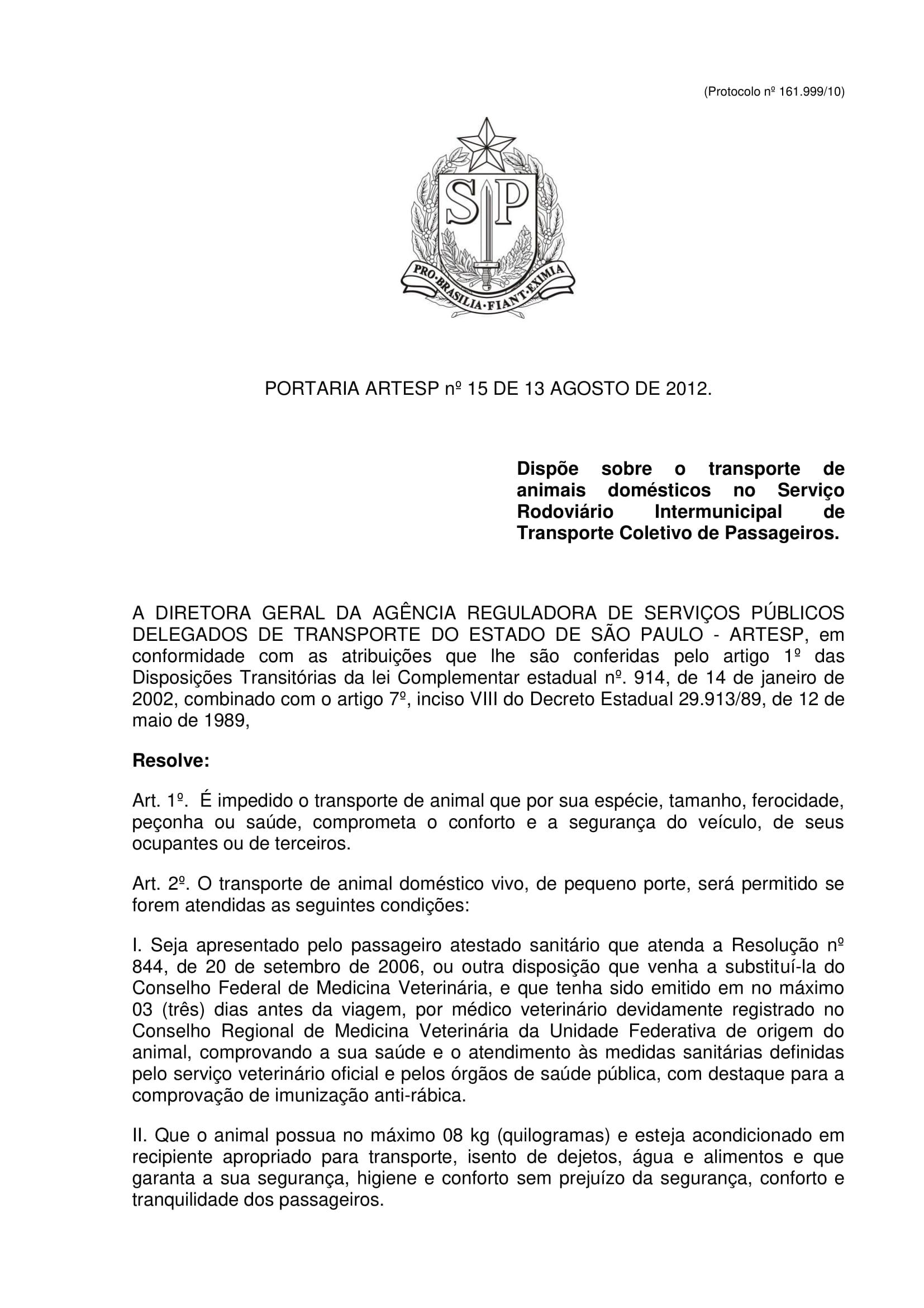 Portaria ARTESP n.º 15 - Prot. 161999-10-1