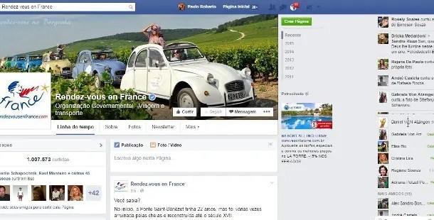 Página do Turismo francês no Facebook alcança 1 milhão de fãs