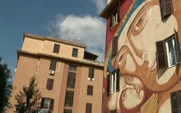 Artistas transformam bairros pobres de Roma em galerias a céu aberto