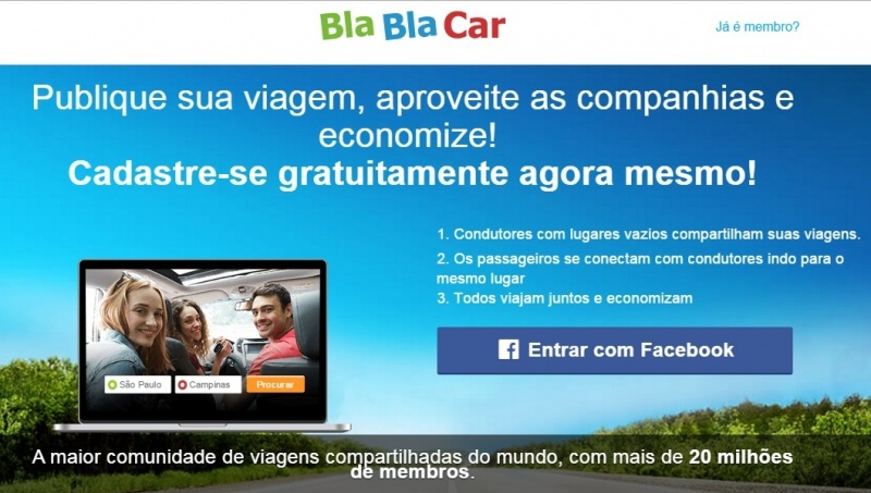 Aplicativo de viagens de carro BlaBlaCar começa a funcionar no Brasil