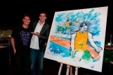 Giba recebe quadro do artista plástico Rafael