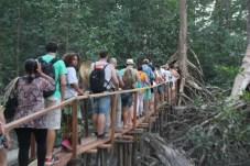 Expectadores, músicos e público em geral sobre a passarela feita especialmente para a Ópera no Mangue
