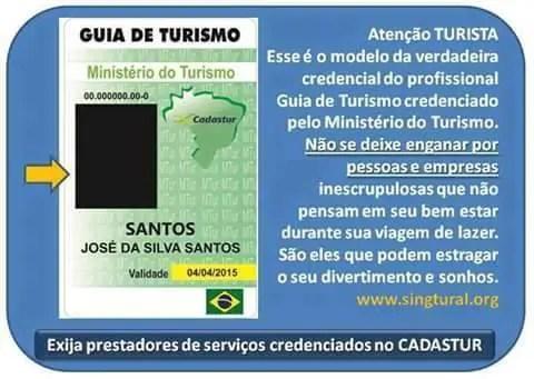 Reprodução de crachá oficial de guia de turismo oficial. (Foto: divulgação)