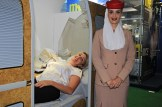 O Emirates trouxe para a WTM Latin America 2018, a experiência de voo na primeira classe. (Crédito: Ana Azevedo)