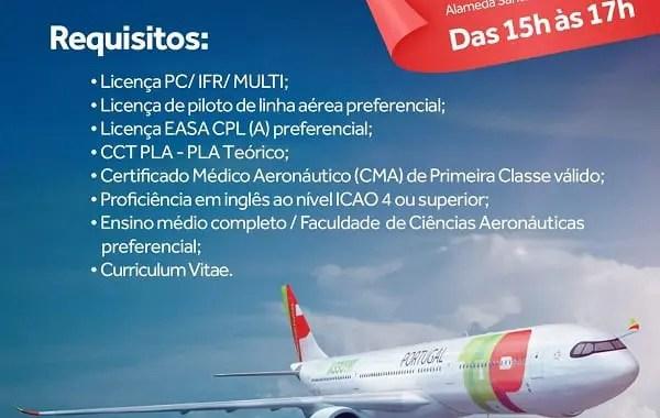 TAP faz recrutamento de co-pilotos nesta quarta-feira (17), em São Paulo