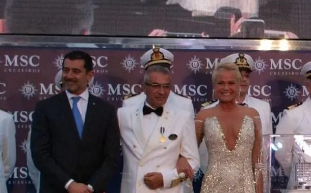 MSC Seaview chega ao porto de Santos com festa e presença de Xuxa, madrinha da companhia no Brasil