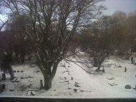 La primera nevada, desde mi salón. Todavía se habla de aquel invierno en el que no paraba de nevar.