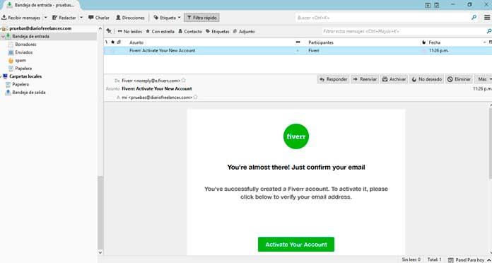 Activar tu cuenta correo electrónico fiverr