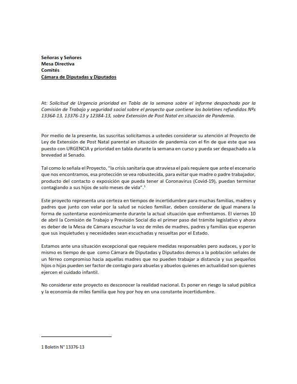 Carta Mesa Directiva y comites PDL Post Natal_001