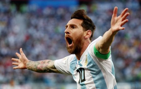 Soccer Football - World Cup - Group D - Nigeria vs Argentina - Saint Petersburg Stadium, Saint Petersburg, Russia - June 26, 2018   Argentina's Lionel Messi celebrates scoring their first goal         REUTERS/Sergio Perez     TPX IMAGES OF THE DAY