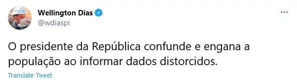 Wellington Dias diz que Bolsonaro 'engana a população'' sobre transferência de verbas