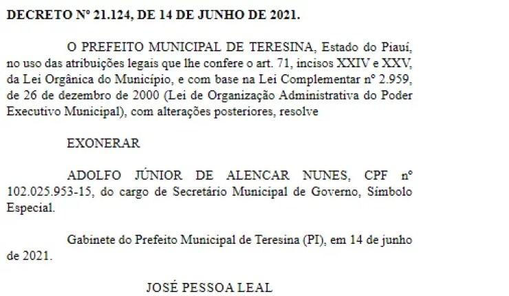 Dr. Pessoa exonera Adolfo Nunes e nomeia o genro para Secretaria de Governo