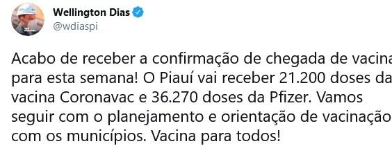 Governador anuncia a chegada de 57 mil doses de vacina contra Covid