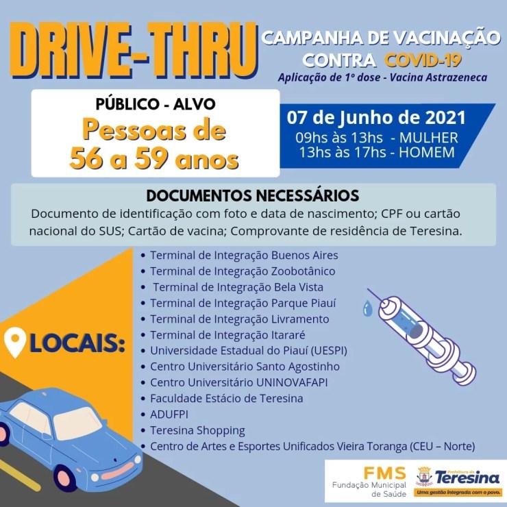 FMS vacina pessoas de 56 a 59 contra Covid-19 nesta segunda-feira