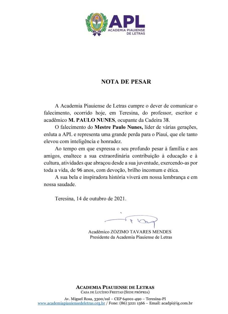 Morre em Teresina o escritor M. Paulo Nunes