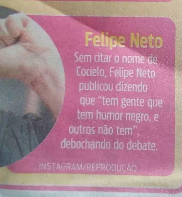 """""""Chega de apanhar calado"""", diz Felipe Neto contra um Jornal de Belo Horizonte"""