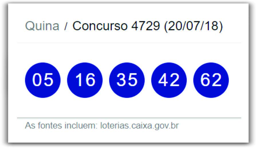 Resultado do Concurso 4729 da Quina desta sexta-feira 20 de julho de 2018 / Fonte : Loterias Caixa