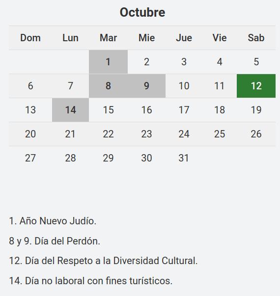 Es Feriado El Lunes 14 De Octubre Diario Primera Linea