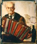 The Accordian Player, oil on canvas, 65 x 50cm, 1944