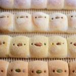 ひよこパンの進化形4種。カレー・チーズ・桜・きなこ