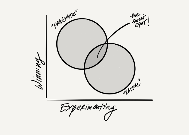 "Image of a graphic with ""winning"" on the x axis and ""experimenting"" on the y axis. there are two concentric circles in between. the circle closer to winning axis has ""pragmatic"" and the circle closer to experimenting has ""radical"" -- and there is a line pointing to the middle that says ""the sweet spot!"