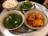 tofu, morning glory, chrysanthemum soup
