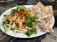Guava Salad with Prawns and Sesame Seed rice cracker