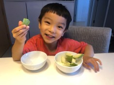 A favorite after school activity, fruit snack guava with sugar dip