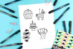birthday draw doodles easy happy step drawings drawing doodle journal diary pencil diaryofajournalplanner tutorials super fun journaling bullet wishes instructions