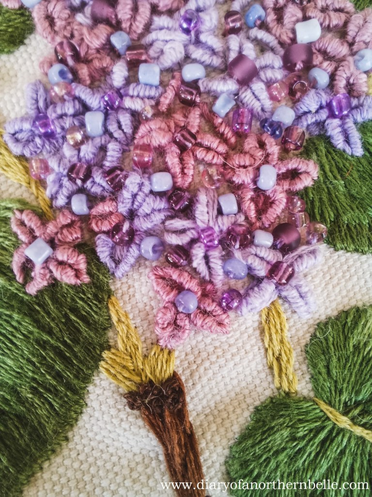 lilac branch project bullion knot lilac flowers close-up
