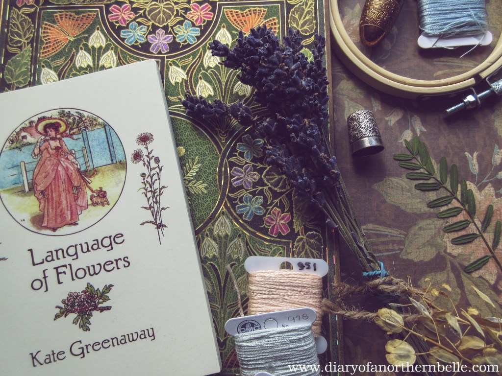 language of flowers dictionary and dried lavender