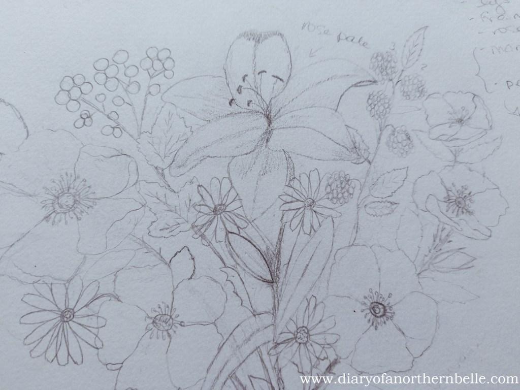 close-up of the garden bouquet final sketch