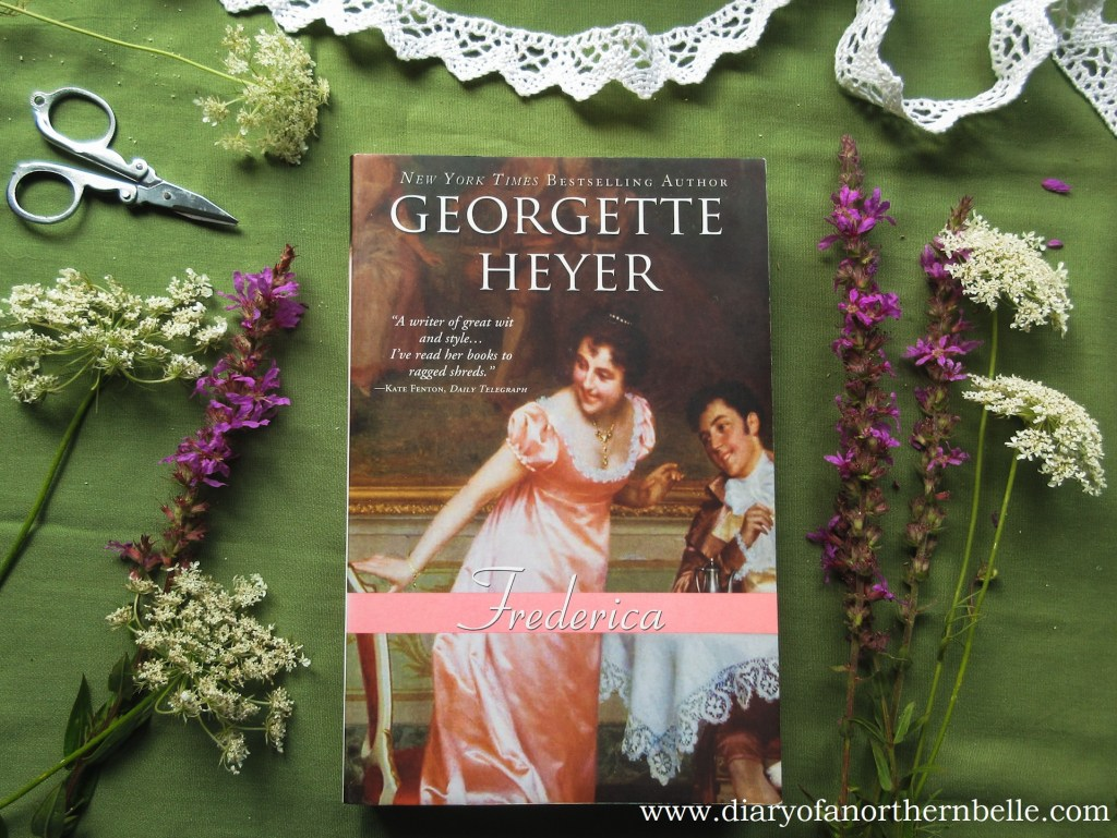 front cover of Georgette Heyer's Frederica surrounded by wildflowers