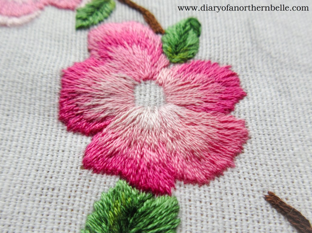 finished petal in long & short stitch shading