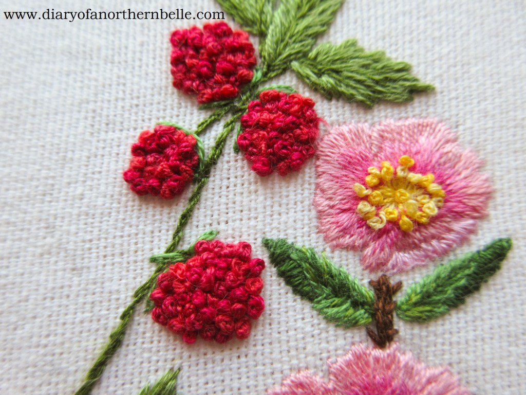 embroidered raspberries with french knots
