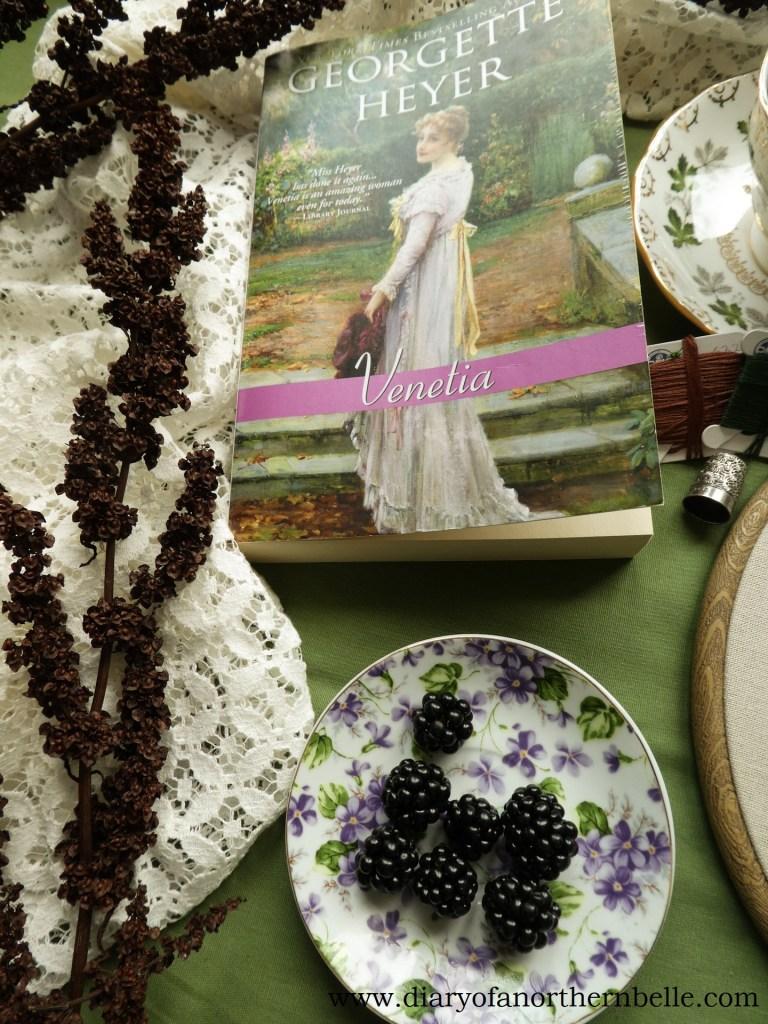 Venetia book copy and plate of real blackberries