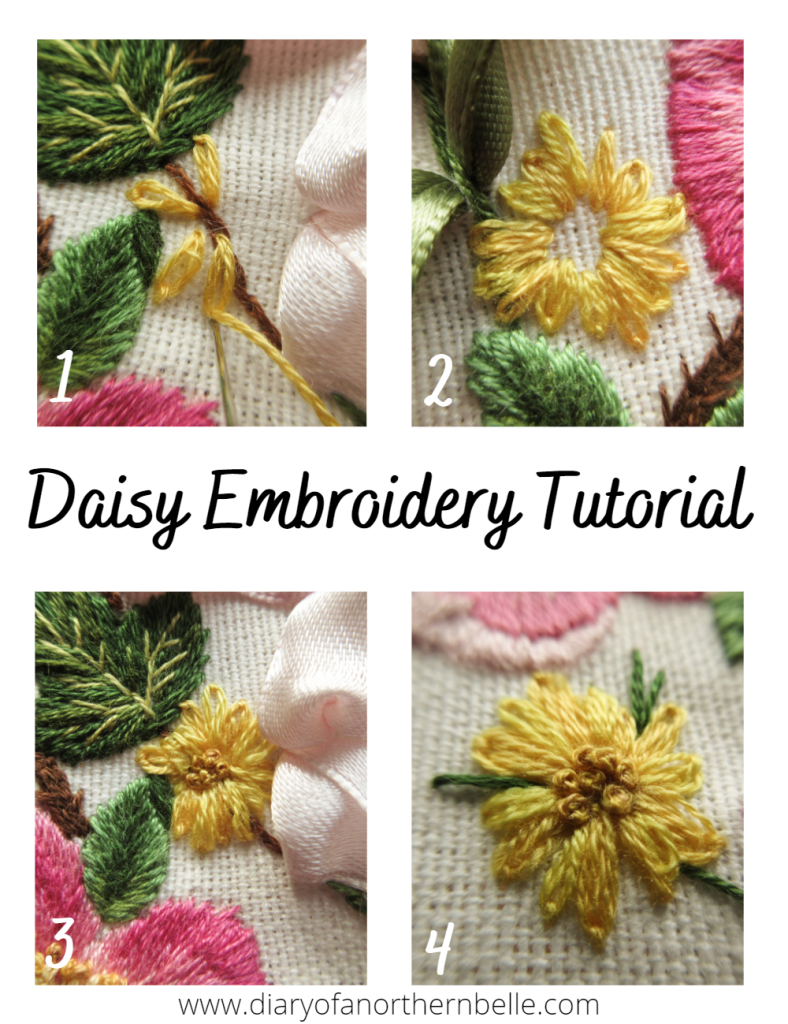 embroidery tutorial pin for stitching the daisies