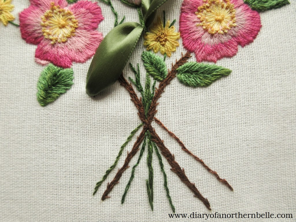 embroidered bouquet stems
