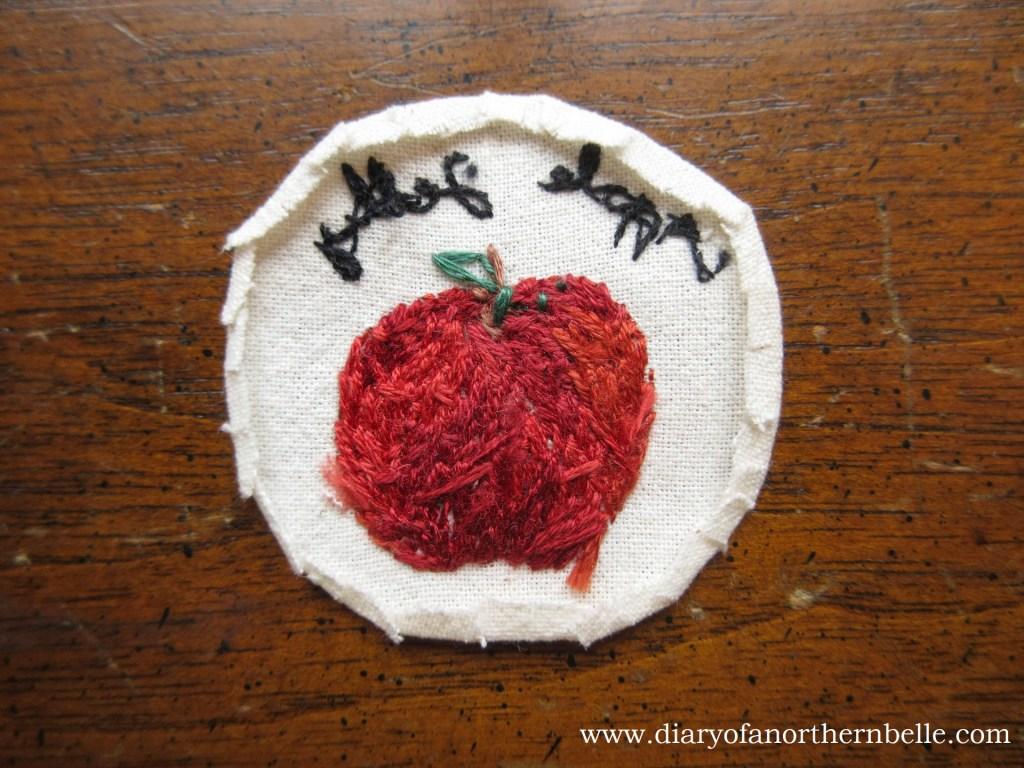 seam allowance folded all around embroidery work