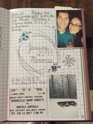 This is what a monthly cover page looks like once it has been filled in with photos, mementos and doodles.
